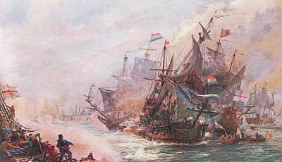 Water Vessels Painting - Blake's Three Day Engagement With Von Tromp by William Lionel Wyllie