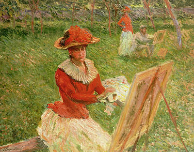 Artist At Work Painting - Blanche Hoschede Painting by Claude Monet