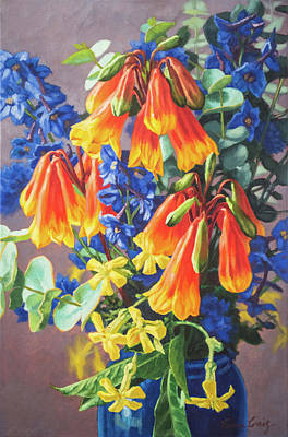 Australian Native Painting - Blandfordia And Delphiniums  by Fiona Craig