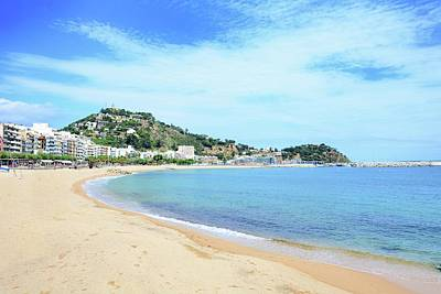 Watercolor Typographic Countries - Blanes beach by Hamik ArtS