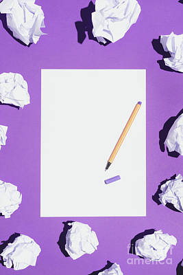 Photograph - Blank White Page And Pen Laying On Violet Background by Michal Bednarek