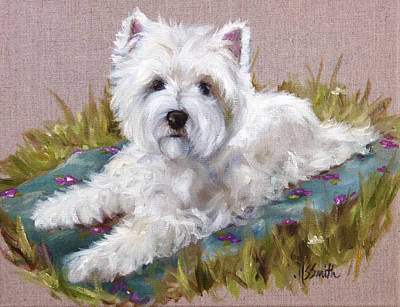 Westie Painting - Blanket by Mary Sparrow