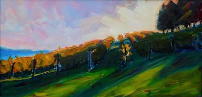 Impressionistic Vineyard Painting - Blanket Of Sunrays by Margaret  Plumb