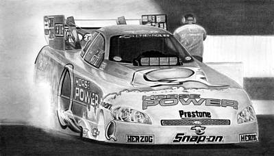 Funny Car Drawing - Blast Off by Lyle Brown