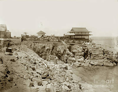 Photograph - Blasting Rocks At Love's Point Beach, 1904 by California Views Mr Pat Hathaway Archives
