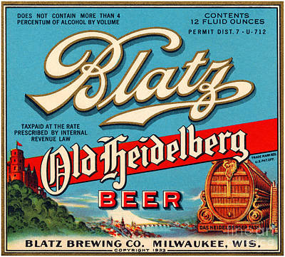 Blatz Old Heidelberg Vintage Beer Label Restored Art Print