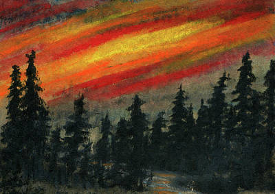 Fibrous Crystals Painting - Blaze Over The Forest by R Kyllo