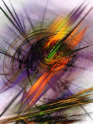 Contemplative Digital Art - Blazing Abstract Art by Karin Kuhlmann