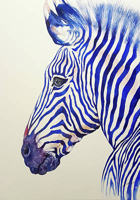 Painting - Blazing Blue Zebra by Arti Chauhan