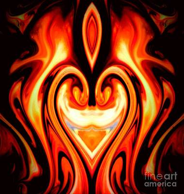 Abstract Movement Mixed Media - Blazing Heart by Lisa Roberts