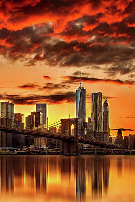 Brooklyn Bridge Photograph - Blazing Manhattan Skyline by Az Jackson