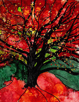 Mixed Media - Blazing Red Orange Autumn Tree by Conni Schaftenaar