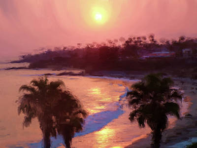 Laguna Beach Mixed Media - Blazing Sun by John Loyd Rushing