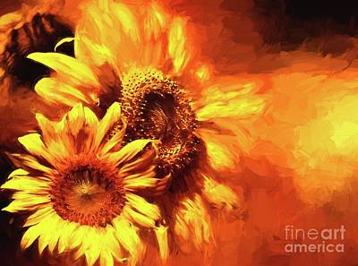 Photograph - Blazing Sunflowers No Text by Pam  Holdsworth