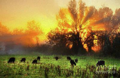 Digital Art - Blazing Sunrise Over A Farm Pasture Horizontal Ap by Dan Carmichael