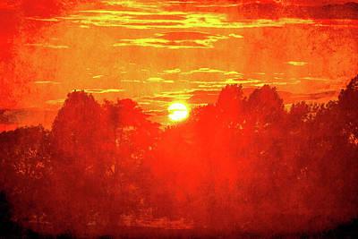 Digital Art - Blazing Sunset by David Stasiak