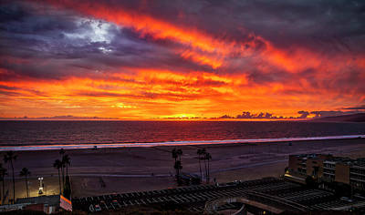 Blazing Sunset Over Malibu Art Print