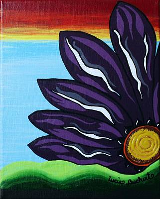Painting - Blazing Sunset Purple Flower by Lucie Buchert