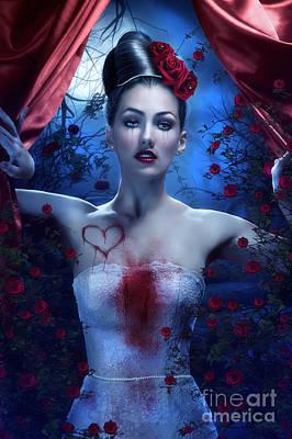 Blue And Red Digital Art - Bleeding Heart by Jessica Allain