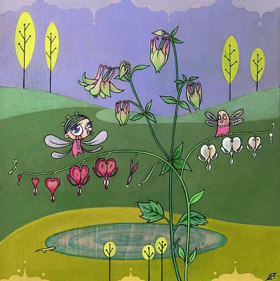 Art Print featuring the painting Bleeding Hearts by Kaori Hamura Long