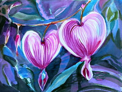 Drawing - Bleeding Hearts by Mindy Newman