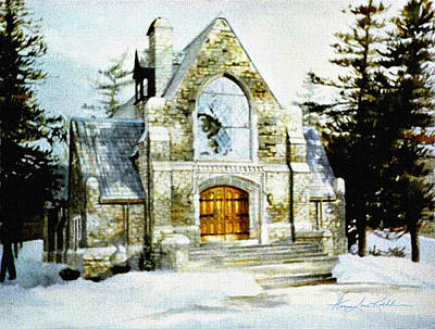 Snow Scene Painting - Blenheim Chapel by Hanne Lore Koehler
