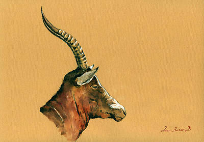 Antelope Wall Art - Painting - Blesbok by Juan  Bosco