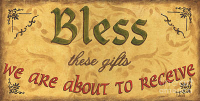 Prayer Wall Art - Painting - Bless These Gifts by Debbie DeWitt