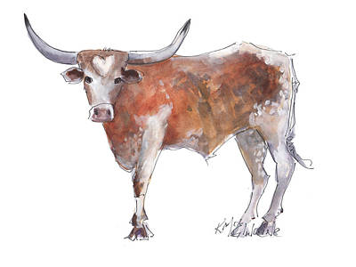 Bless Your Heart Of Texas Longhorn A Watercolor Longhorn Painting By Kathleen Mcelwaine Art Print