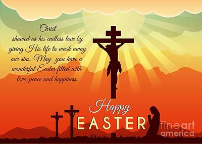Digital Art - Blessed Easter Crosses by JH Designs