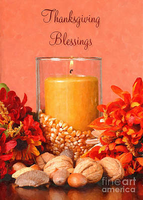 Digital Art - Blessed Thanksgiving Centerpiece by JH Designs