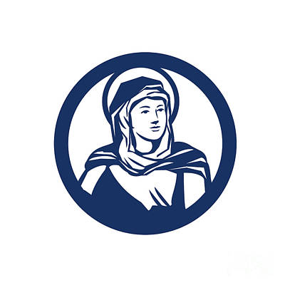 Mother Mary Digital Art - Blessed Virgin Mary Circle Retro by Aloysius Patrimonio