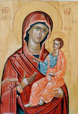 Byzantine Greek Icon Painting - blessed Virgin Mary by George Siaba