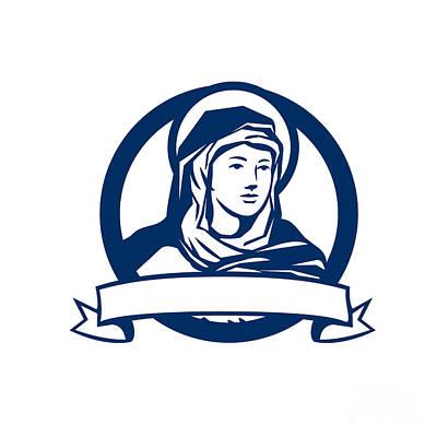 Mother Mary Digital Art - Blessed Virgin Mary Scroll Retro by Aloysius Patrimonio