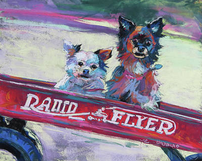 Radio Flyer Wagon Painting - Blessing And Lindi Riding In The Red Wagon by Sandy Lindblad