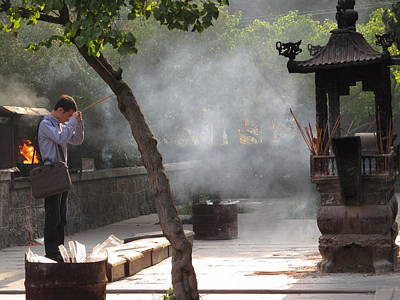 Photograph - Blessing At The Temple by Alfred Ng