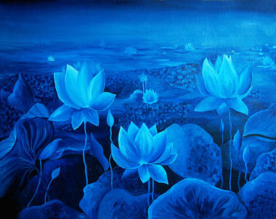 Lotus Leaves Painting - Blessing by Ramneek Narang
