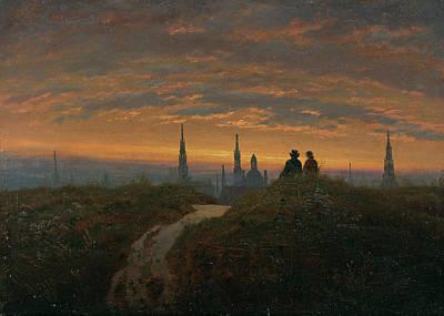 Romantik Painting - Blick Auf Dresden Bei Sonnenuntergang by Carl Gustav Carus