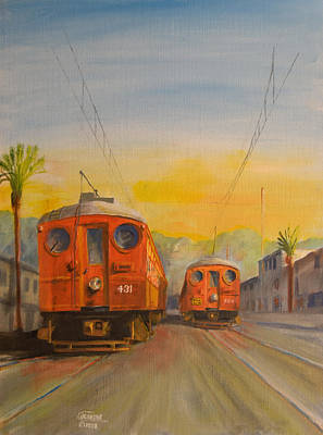 Trolley Painting - Blimps by Christopher Jenkins