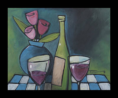 Painting - Blind Date Wine And Flowers by Tim Nyberg