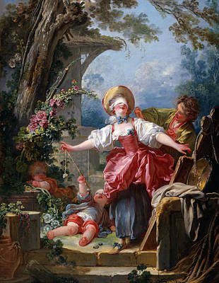 Flower Child Painting - Blind-man's Buff by Jean-Honore Fragonard