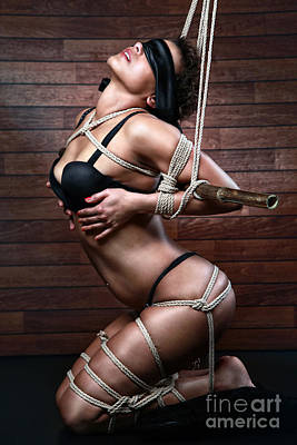 Art Nude Erotic Bondage Photograph - Blindfold, Tied In Lingerie To A Bamboo Tube - Fine Art Of Bondage by Rod Meier