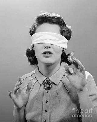 Blindfolded Woman, C.1950s Art Print by H. Armstrong Roberts/ClassicStock