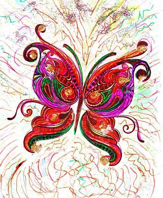 Bling Mixed Media - Blingy Butterfly by Anne-elizabeth Whiteway