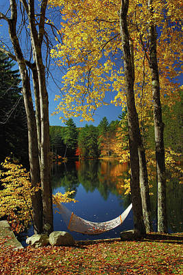Bliss - New England Fall Landscape Hammock Art Print by Jon Holiday
