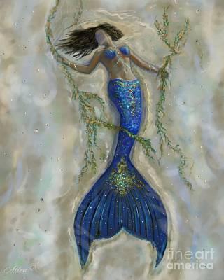 Painting - Blissful Mermaid by Leslie Allen