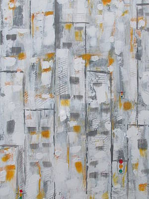 Art Print featuring the painting Blizzard In The Big Apple by Sharyn Winters
