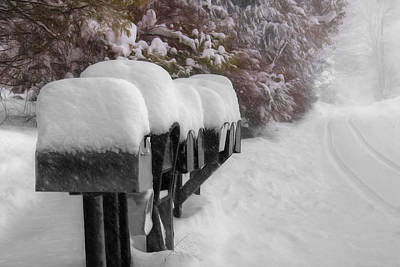 Wintry Mixed Media - Blizzard Mailboxes by Lori Deiter