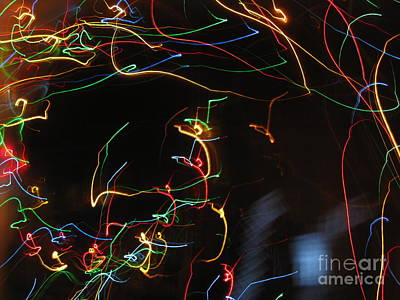 Print featuring the photograph Blizzard Of Colorful Lights. Dancing Lights Series by Ausra Huntington nee Paulauskaite