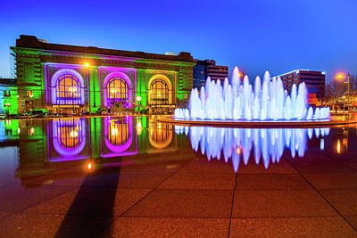 Photograph - Bloch Fountain And Union Station In Kansas City, Missouri  by Gregory Ballos